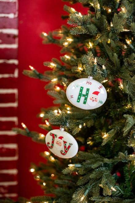 Glass Santa Ho Ho Joy Christmas Ornament