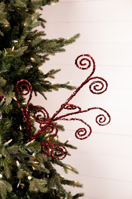 """30"""" Red Curl Christmas Spray"""