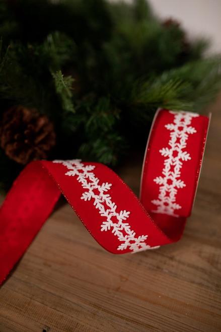 Red and White Velvet Snowflake Christmas Ribbon