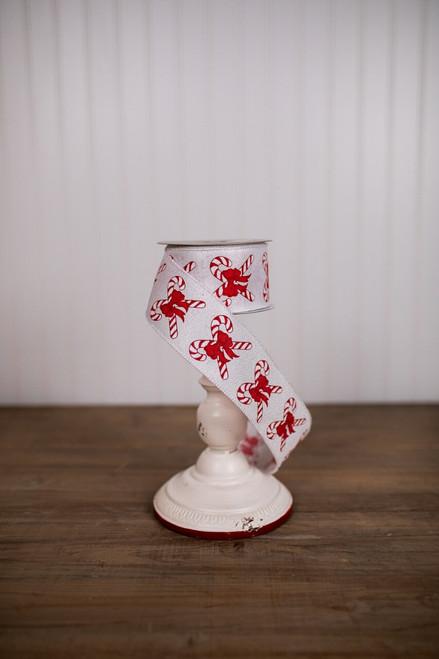 "2.5"" x 10 Yard Candy Cane Christmas Ribbon"