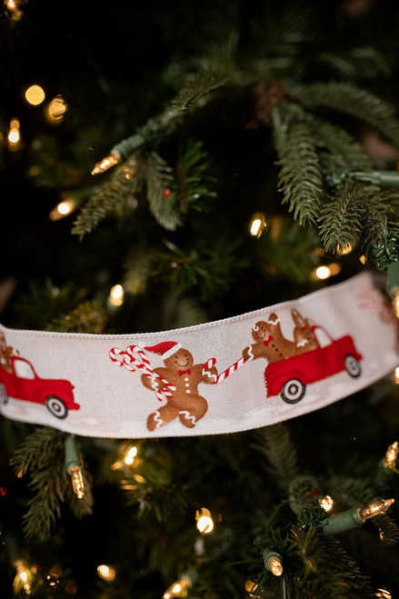Red Truck and Gingerbread Man Christmas Ribbon