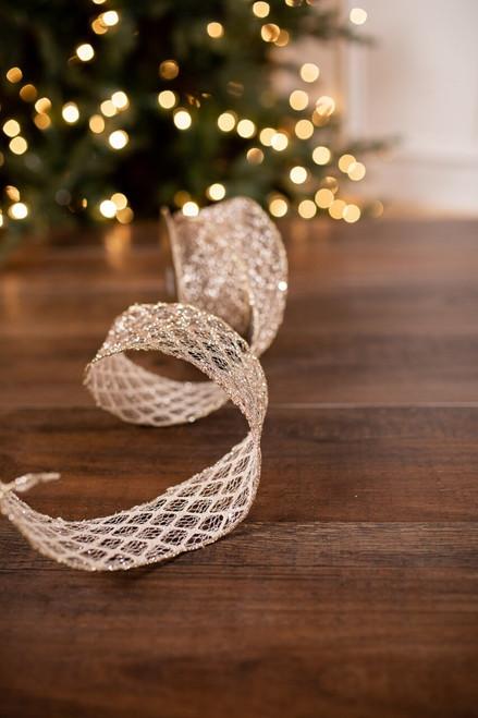 Platinum Glitter Mesh Weave Holiday Christmas Ribbon