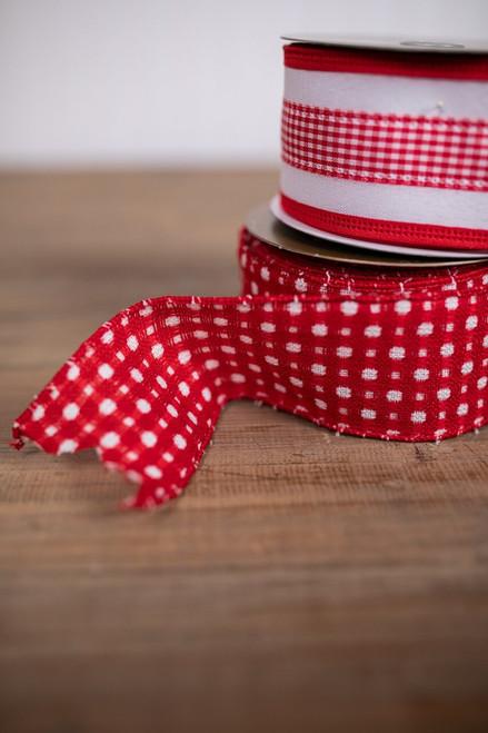 Red and White Linen Buffalo Check Christmas Ribbon