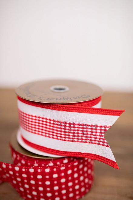 Red and White Linen Buffalo Mini Check Christmas Tree Ribbon
