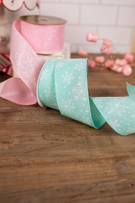 Melody Blue Linen Snowflake Holiday Christmas Tree Ribbon