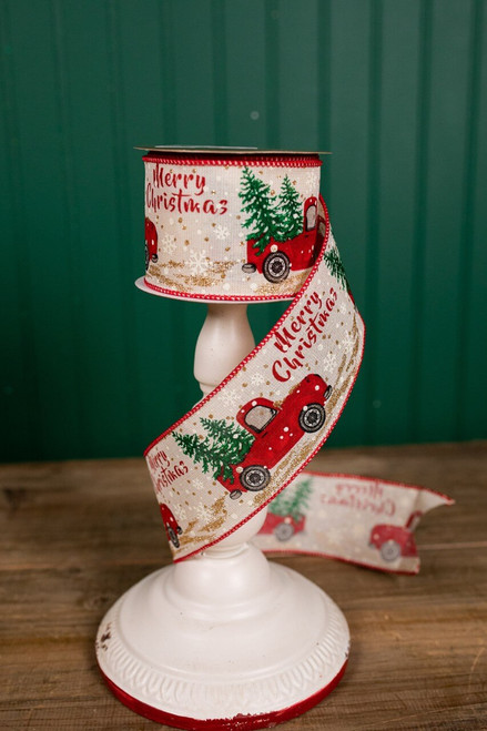 """2.5"""" x 10 Yard Red Truck with Tree Linen Christmas Ribbon"""
