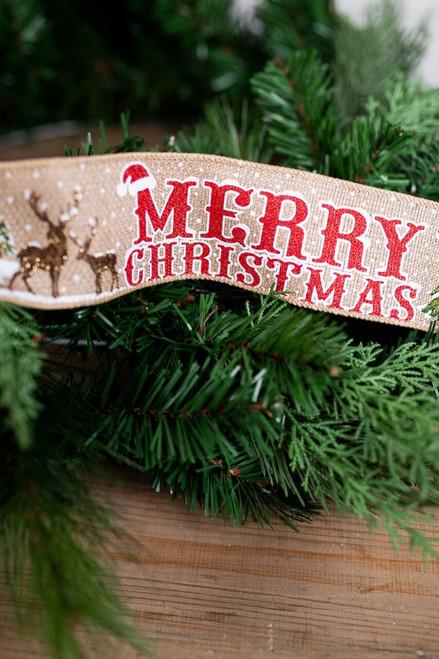 Merry Christmas Deer Burlap Ribbon
