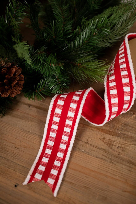 Red and White Plaid Ribbon with Cotton Edge Christmas Tree Ribbon