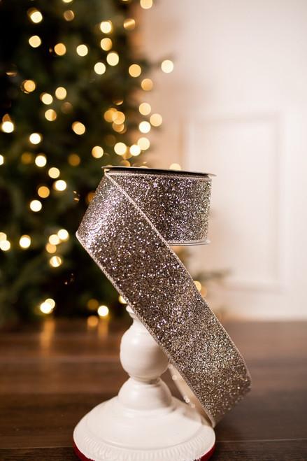 Platinum Taupe Satin Glitter Holiday Christmas Ribbon