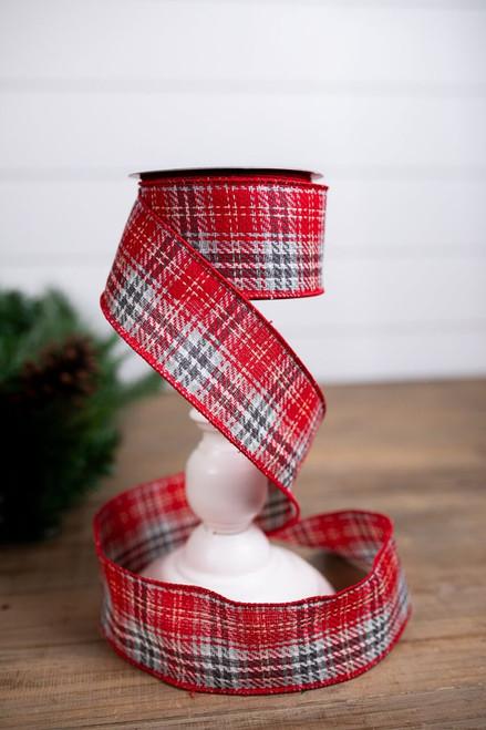 Red and Gray Wool Plaid Christmas Tree Ribbon