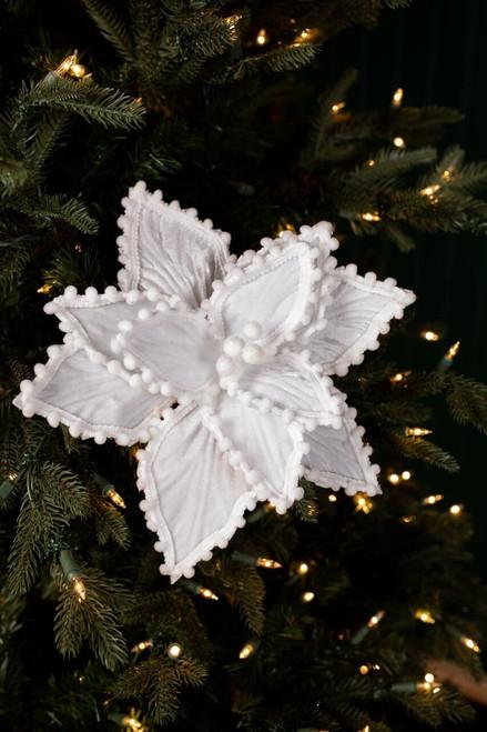 White Velvet Pompom Ricrac Poinsettia Christmas Tree Flower