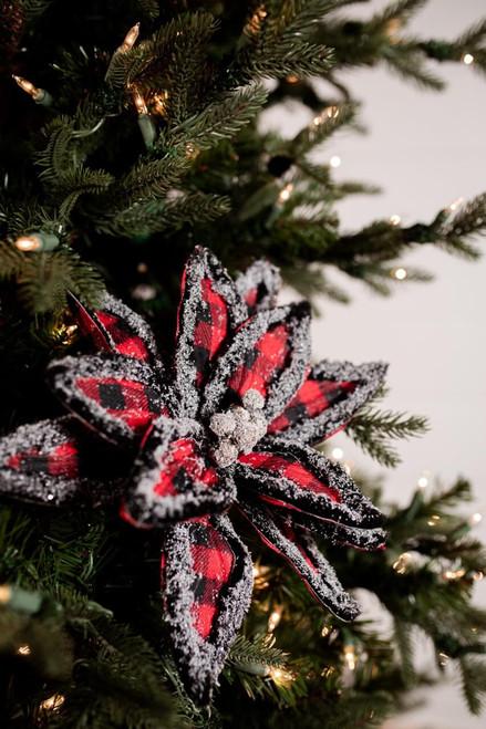 Red and Black Buffalo Check Snow Edge Poinsettia Christmas Tree Flower