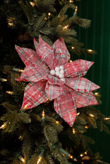 Red and Green Plaid Snow Frosted Poinsettia Christmas Tree Flower