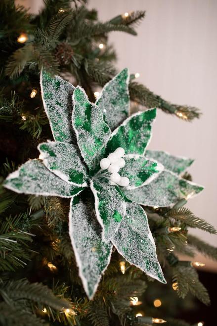 Green Iced Velvet Poinsettia Christmas Tree Flower