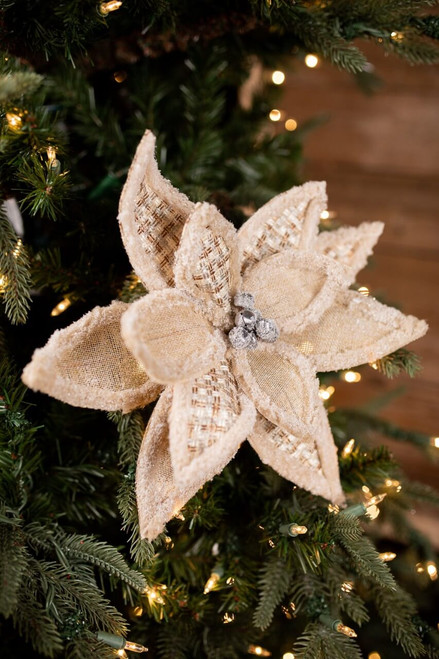 Light Brown Tweed, Burlap, and Wool Poinsettia Christmas Tree Flower