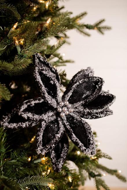 Black Velvet Snow Edge Pearl Poinsettia Christmas Tree Flower
