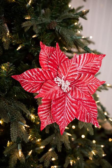 Red Iced Stripe Poinsettia Christmas Tree Flower