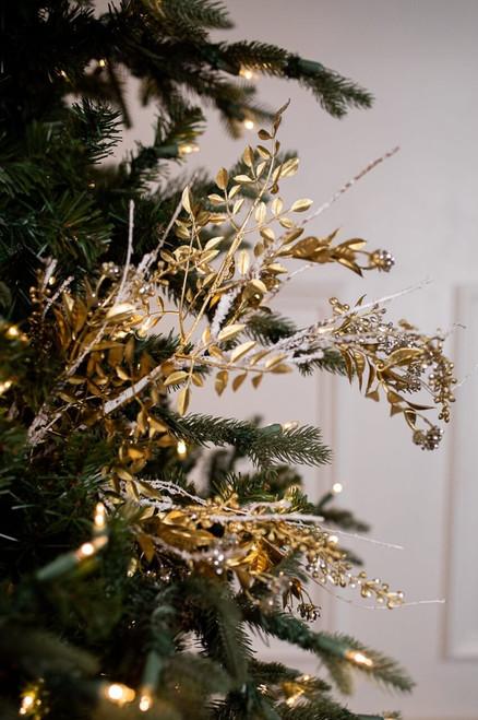Platinum Gold Gem Glitter Leaf Spray