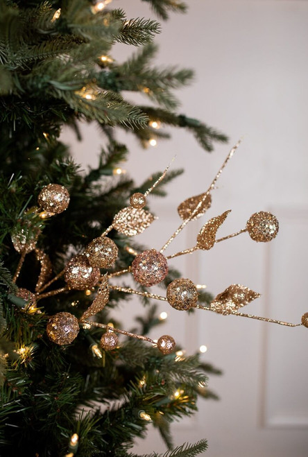 Platinum Gold Sequin Glitter Ball Leaf Spray