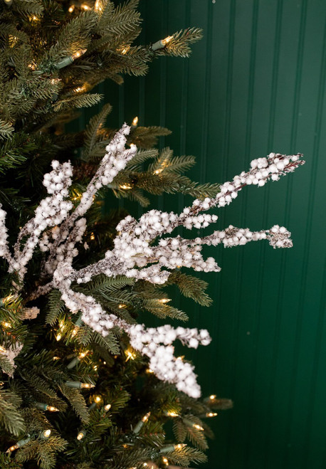 """34"""" White Frosted Spruce Berry Spray"""