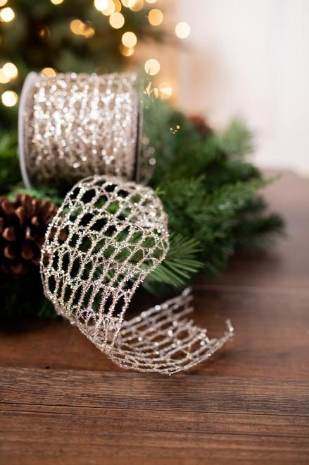 Platinum Glitter Open Weave Holiday Christmas Ribbon