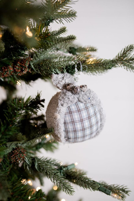 Gray and White Plaid Wool Christmas Ornaments