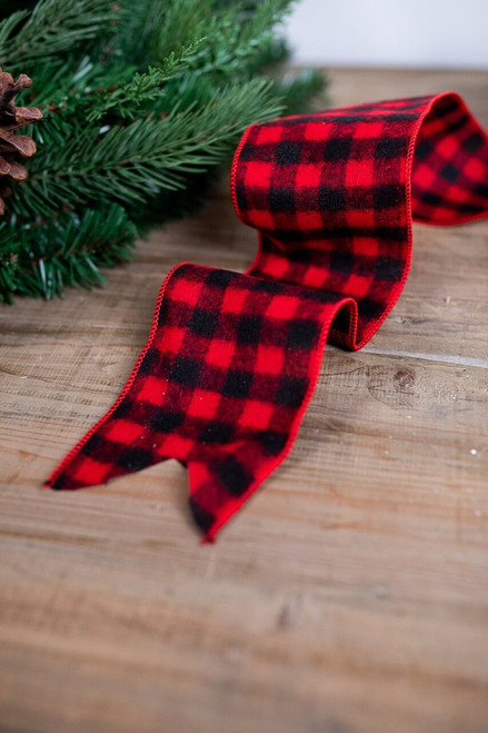 Black and Red Wool Buffalo Check Christmas Ribbon