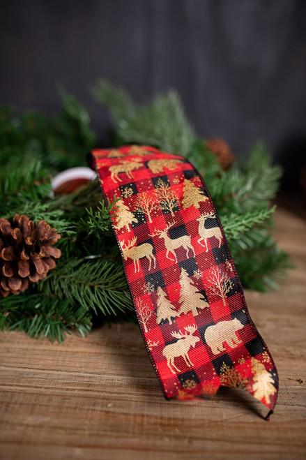 Red and Black Plaid Woodland Animals Christmas Ribbon