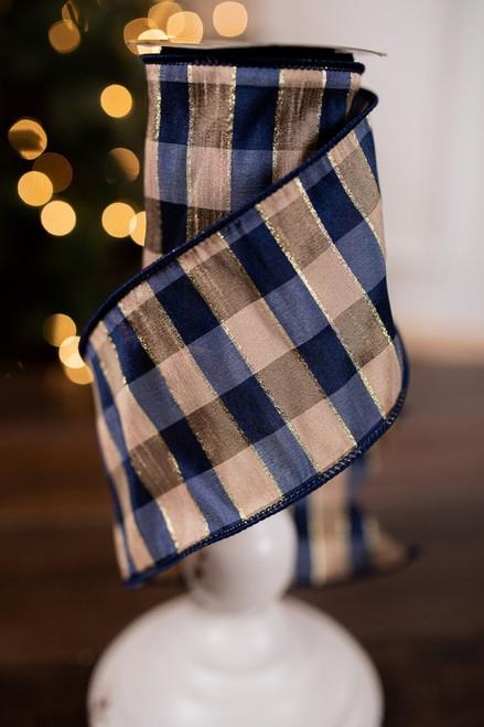 Blue and Gold Dupion Glitter Buffalo Check Christmas Ribbon
