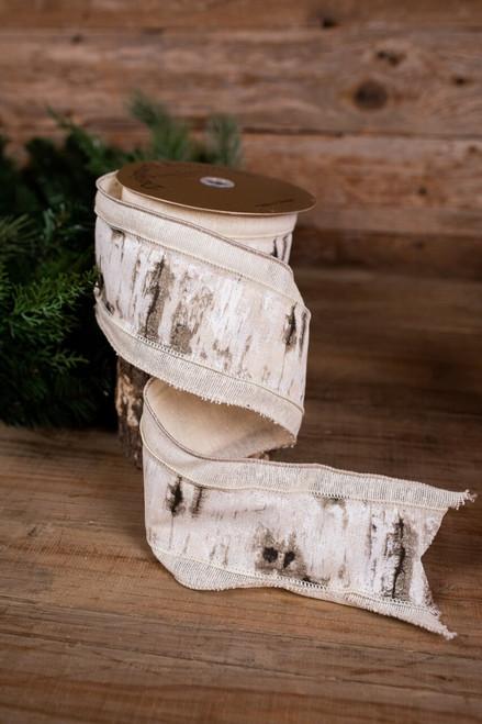Eggshell Linen Bark Band Christmas Ribbon