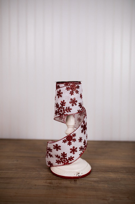 White and Red Glitter Linen Snowflake Christmas Ribbon