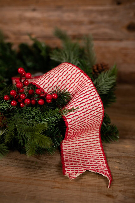 Red and Beige Linen Stitched Holiday Christmas Tree Ribbon