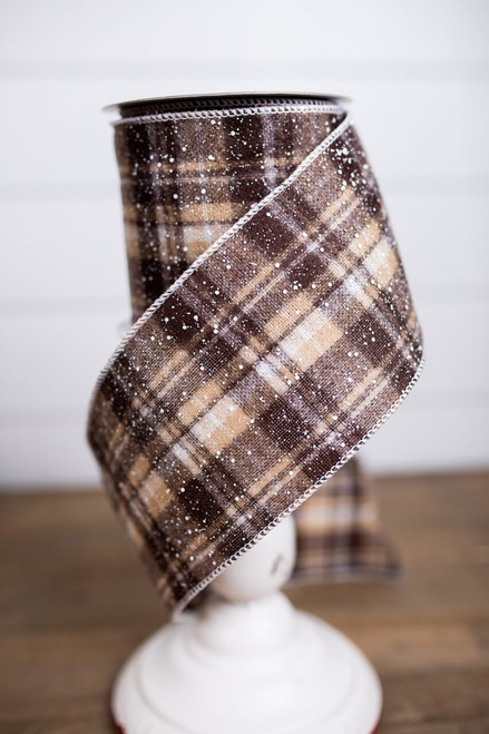Brown and White Snow Flecked Plaid Ribbon
