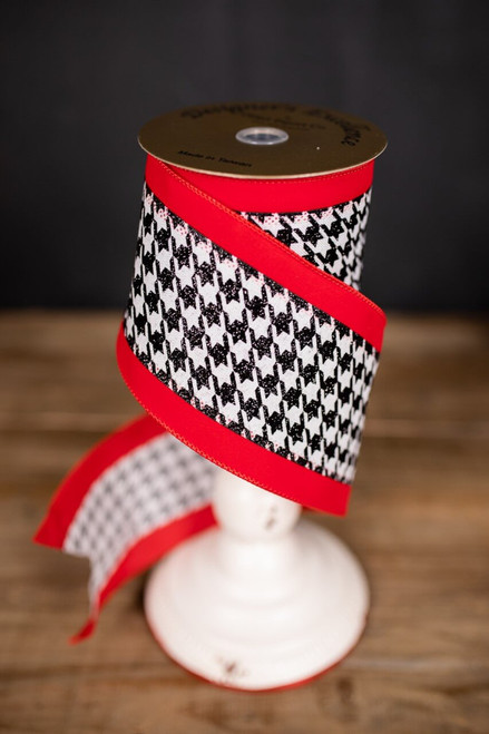 Red, Black and White Houndstooth Christmas Ribbon