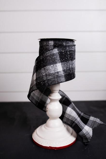 Black and White Glitter Snow Plaid Wool Christmas Ribbon
