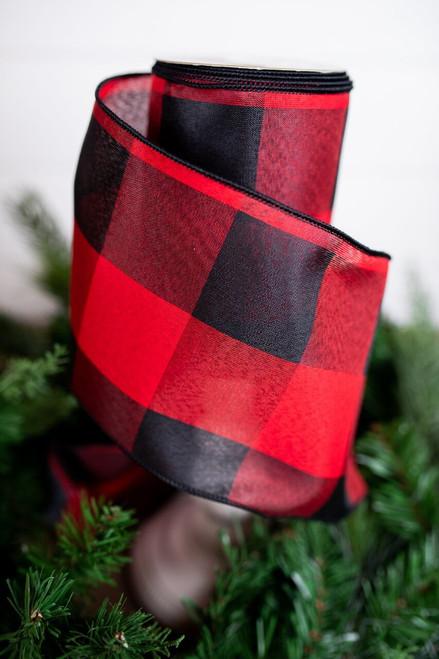 Large Red and Black Buffalo Check Christmas Ribbon
