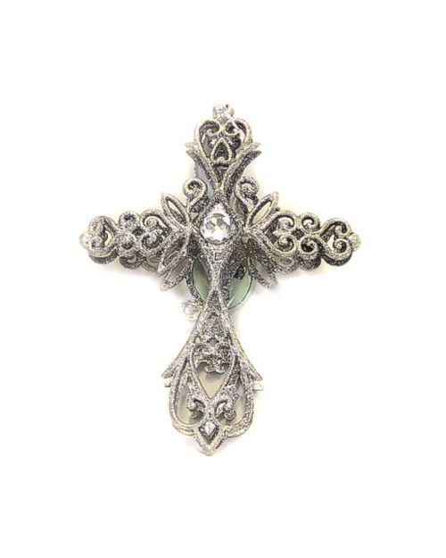 "6"" Antique Plastic Cross with Jewel Ornament"