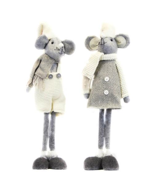 "20"" Grey Standing Christmas Mouse"