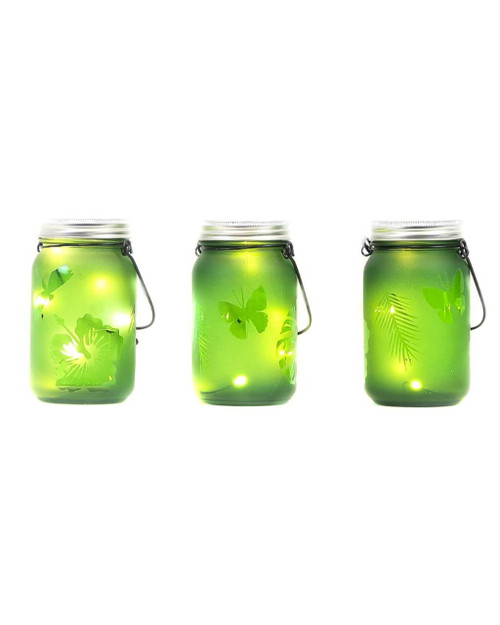 """3""""D x 5.5""""H LED Green Indoor/Outdoor Frosted Mason Jar - Set of 3"""