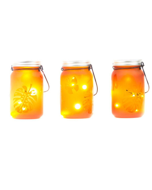 "3""D x 5.5""H LED Orange Indoor/Outdoor Frosted Mason Jar - Set of 3"