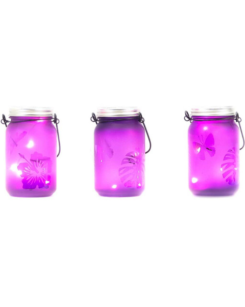 """3""""D x 5.5""""H LED Purple Indoor/Outdoor Frosted Mason Jar - Set of 3"""