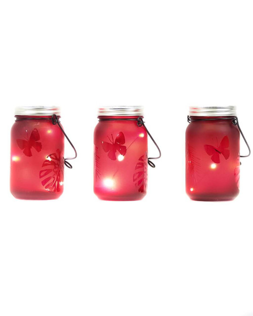 """3""""D x 5.5""""H LED Red Indoor/Outdoor Frosted Mason Jar - Set of 3"""