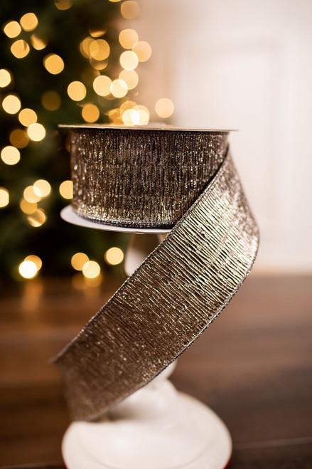 Platinum Crinkle Velvet Holiday Christmas Ribbon