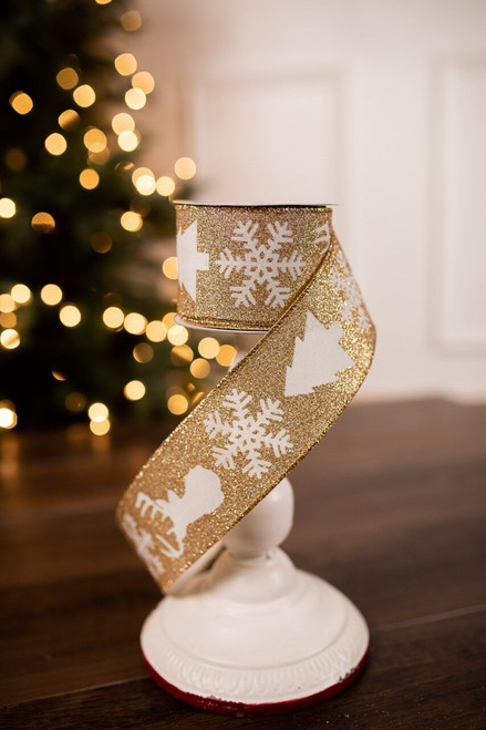 Small Gold Glitter and White Reindeer/Snowflake Christmas Ribbon