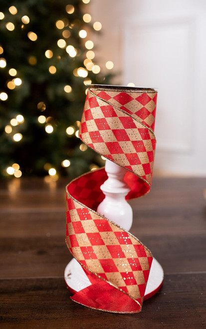 Red and Gold Glitter Argyle Jester Holiday Ribbon