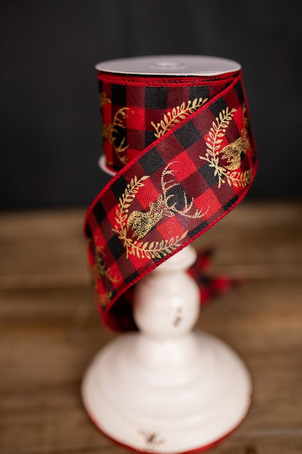 Red and Black Plaid Reindeer Holiday Ribbon