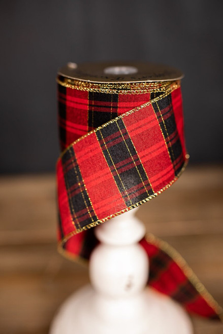Black, Red, and Gold Plaid Linen Ribbon