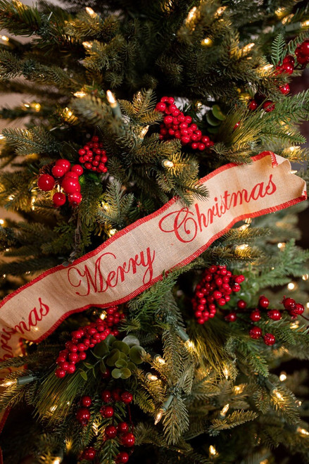 Red Merry Christmas and Jute Holiday Ribbon