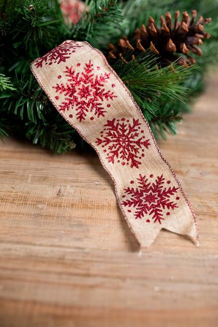Red Glitter Snowflake and Burlap Christmas Ribbon