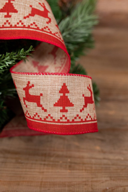 Red and Jute Reindeer Christmas Ribbon